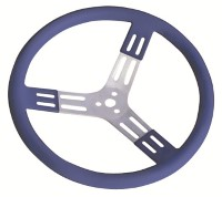 "Longacre Part Number 56803: 15"" Blue Aluminum Steering Wheel Smooth"