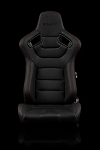 Braum Racing Advan Black Leatherette/Carbon Mixed Sport Seats-Black Stitch-PAIR