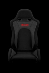 Braum Racing S8 Black-Grey Fabric/Microsuede Reclining Seats-Blk Stitch-PAIR