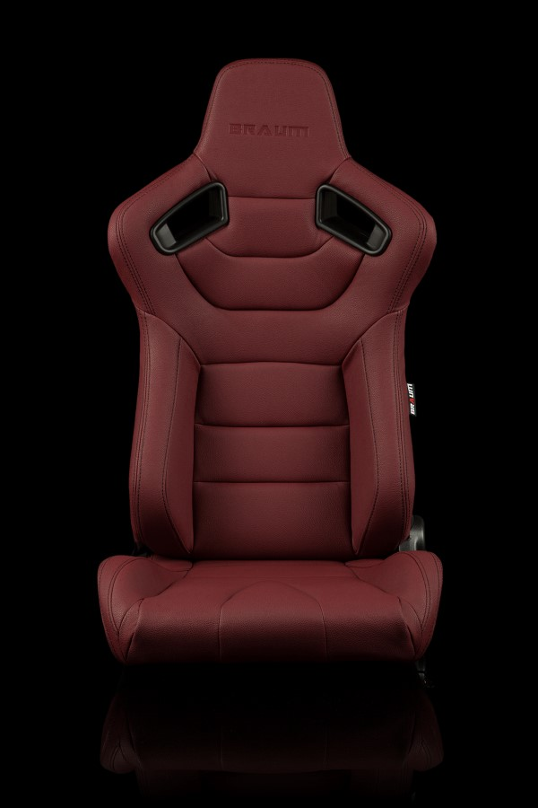 Braum Racing Elite Series Reclining Seat - Maroon Leatherette / Carbon Fiber  - Pair