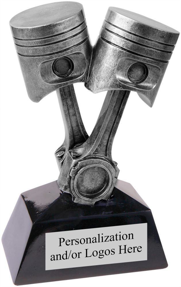 Resin Piston Design Trophy with Personalization, available in 7