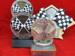 Checkered Flag Resin Trophies, Misc Sizes