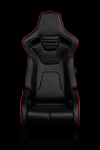 Braum Racing Elite R Series Reclining Seat - Black Leatherette / Red Piping