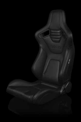 Braum Racing Elite X Series Reclining Seat - Black Leatherette / Carbon Fiber - Black Stitching - Pair
