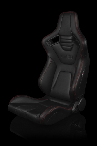 Braum Racing Elite X Series Reclining Seat - Black Leatherette / Carbon Fiber - Red Stitching - Pair