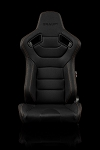 Braum Racing Elite Series Reclining Seat - Black Leatherette / Carbon Fiber - Gold Stitching - Pair