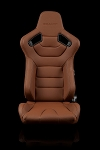 Braum Racing Elite Series Reclining Seat - Brown Leatherette / Carbon Fiber  - Pair