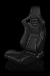 Braum Racing Elite X Series Reclining Seat - Black Leatherette / Carbon Fiber - Blue Stitching - Pair