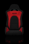 Braum Racing S8 Black-Red Fabric/Microsuede Reclining Seats-Red Stitch-PAIR