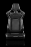 Braum Racing Venom Black Leatherette/Carbon Reclining Seats-Black Stitch-Pair