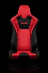 Braum Racing Venom Black-Red Fabric/Mesh Reclining Seats-Red Stitch-PAIR