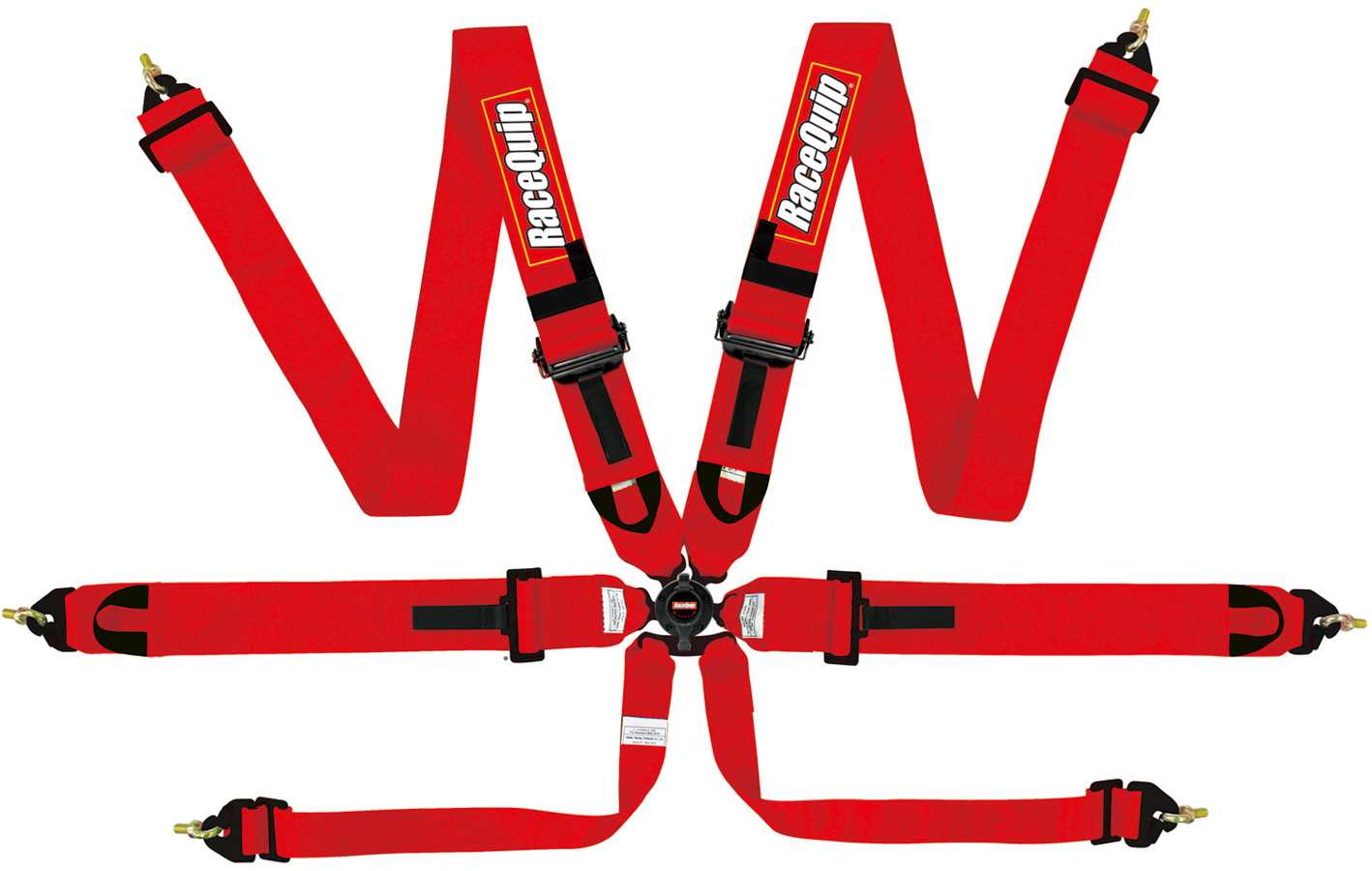 Racequip FIA Harness 6 Point, Camlock, FIA Approved, Pull Down Adjust, Clip In, Individual Harness, Red