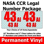 NASA CCR Legal Number and Class Letter Package PERMANENT VINYL