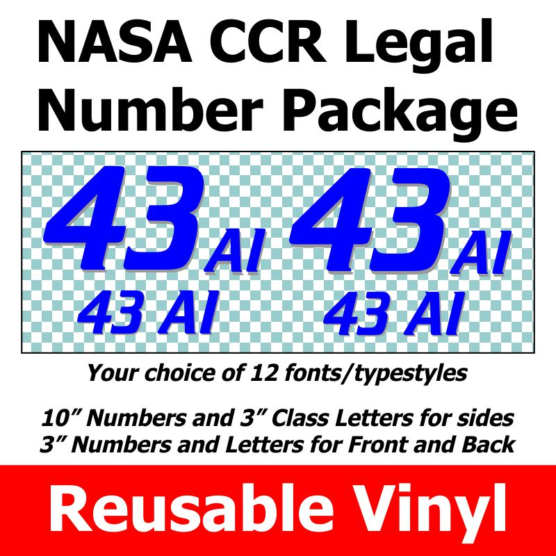 NASA CCR Legal Number and Class Letter Package REUSABLE VINYL