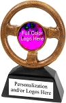 Resin Steering Wheel Design Trophy with Personalization, available in 7