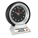 Desk Tire Clock Trophy with Personalization