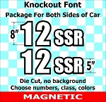Super Outline Knockout Font Magnetic Autocross Number and Letter Package