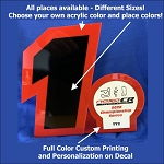 Semi Custom Stand Up Acrylic Trophy - Custom Colors, Personalization and more