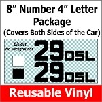 QUICK SHIP - NEXT BUSINESS DAY  8 inch Number 4 Inch Letter Reusable Vinyl Basic Block Font Package