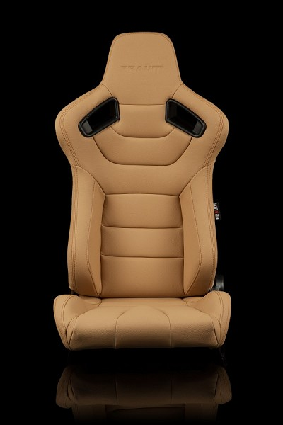 Braum Racing Elite Series Reclining Seat - Beige Leatherette / Carbon Fiber  - Pair