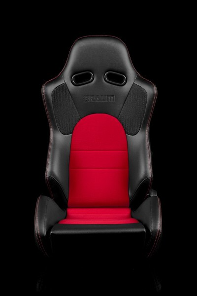 Braum Racing Advan Black Leatherette/Red Fabric Seats-Red Stitch-PAIR